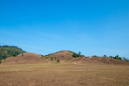 The landscape view of bald mountain or grass mountain in Ranong province, Southern Thailand.