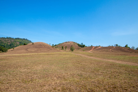 The landscape view of bald mountain or grass mountain in Ranong province, Southern Thailand. Stock Photo - 97486282
