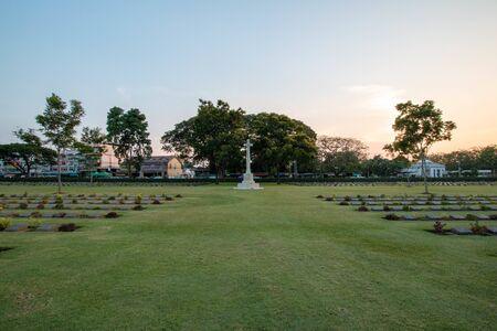 KANCHANABURI, THAILAND - April 14, 2018 : Don Rak War Cemetery of prison of war, Kanchanaburi province (World war II). Editorial