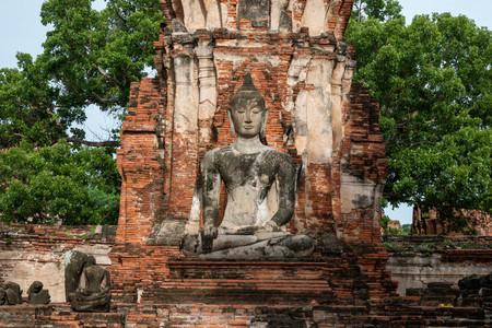 Statue of Buddha at Wat Mahathat in Phra Nakhon Si Ayutthaya Province, Thailand.