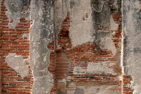 Background of old ancient bricks wall at Ayutthaya history park, Ayutthaya province, Thailand.