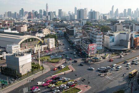 BANGKOK, THAILAND - DECEMBER 15, 2018 : Bangkok city skyline Hua Lamphong station Bangkok railway station Thailand.