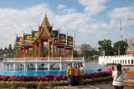 BANGKOK, THAILAND - DECEMBER 15, 2018 : People visit the Royal Winter Festival (Un Ai Rak 2) at Dusit Palace near Ananta Samakhom Throne Hall is a royal reception hall in Bangkok.