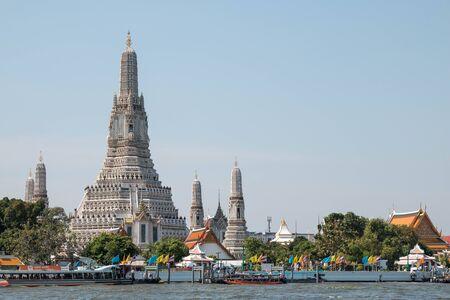BANGKOK, THAILAND - 31 DECEMBER, 2018 : Wat Arun temple, one of landmark Chao Phraya river in Bangkok Thailand,Copy space at the right.