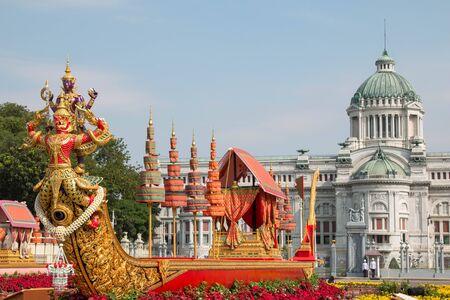 BANGKOK, THAILAND - DECEMBER 30, 2018 : People visit the Royal Winter Festival (Un Ai Rak 2), Ananta samakhom throne hall and Replica of Royal Barge Anantanakkharat Royal Plaza, Dusit Palace. Editorial