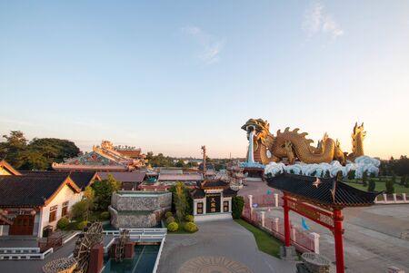 Suphan Buri, Thailand - 10 December 2018 : Big Dragon Statue at Dragon Descendants Museum in Suphan Buri,Thailand, in the morning. Editorial