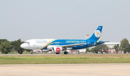 BANGKOK, THAILAND - January 12 , 2019 : Thai AirAsia Airbus A320 (HS-ABV) new pattern