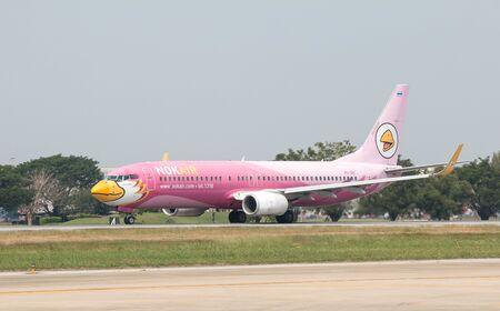 BANGKOK, THAILAND - January 12 , 2019 : NokAir Airlines aircraft (Nok Flamingo) HS-DBE taking off at Don Mueang International Airport.