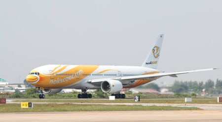 BANGKOK, THAILAND - January 12 , 2019 : NokScoot Airlines taking off at Don Mueang International Airport.