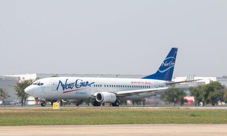 BANGKOK, THAILAND - January 12 , 2019 : Newgen Airways Boeing 737-400 (HS-NGD) named Editorial