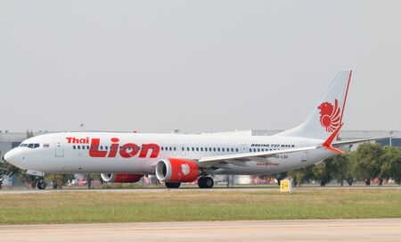 BANGKOK, THAILAND - January 12 , 2019 : Thai Lion Air Boeing 737 MAX 9 (HS-LSK) taking off from Don Mueang International Airport Thailand. Thai Lion Air company is the largest low cost airlines in Asia. Editorial