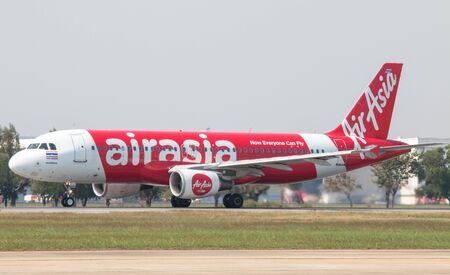 BANGKOK, THAILAND - January 12 , 2019 : Thai AirAsia taking off from Don mueang International Airport.