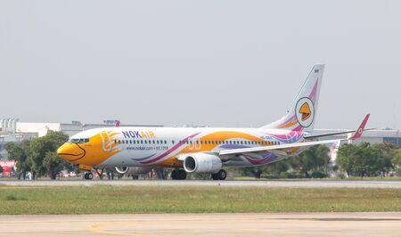 BANGKOK, THAILAND - January 12 , 2019 : NokAir Airlines aircraft (Nok Tawan) HS-DBX taking off at Don Mueang International Airport. Editorial