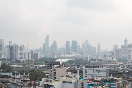 BANGKOK, THAILAND - February 2, 2019 : Aerial view of Bangkok with heavily polluted air on a hazy winter day ~ Air pollution level of PM 2.5 Editorial