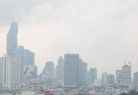 BANGKOK, THAILAND - February 2, 2019 : View of heavily polluted city center in Bangkok, Air quality index levels were classed as
