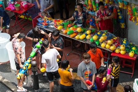 BANGKOK, THAILAND - April 15, 2019 : Water gun on stall at Songkran Festival in Silom, Bangkok.