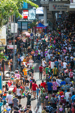 BANGKOK, THAILAND - April 15, 2019 : Famous Songkran Festival in Silom, One of the most popular water fight places during Songkran in Bangkok.