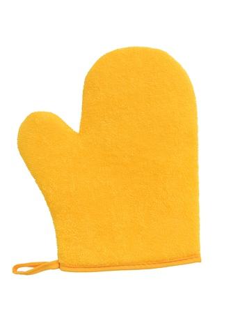 mitt: yellow oven glove mitt isolated on white background