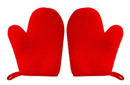 double oven: double oven glove mitt red color and isolated on white background