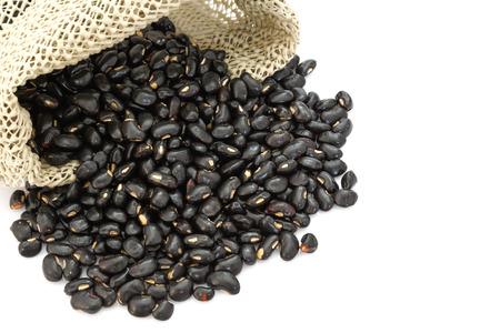 turtle bean: black beans on white background