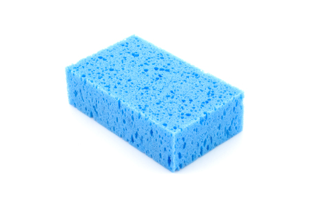blue sponge isolated on white background photo