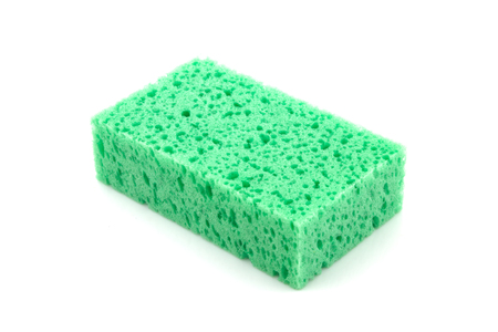 green sponge isolated on white background photo