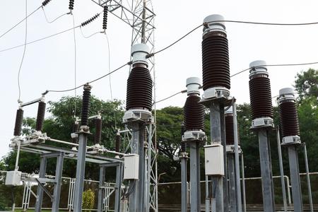 isolator insulator: high voltage insulators at new substation Stock Photo