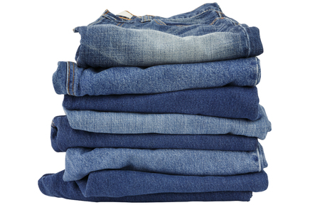 bluejeans: lot of blue jeans isolated on white background Stock Photo