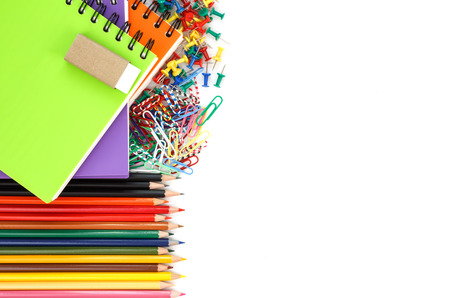 school supplies isolated on white background Stock Photo - 23860428
