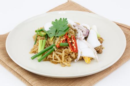 Thai food pad thai, stir-fried rice noodle with squid photo