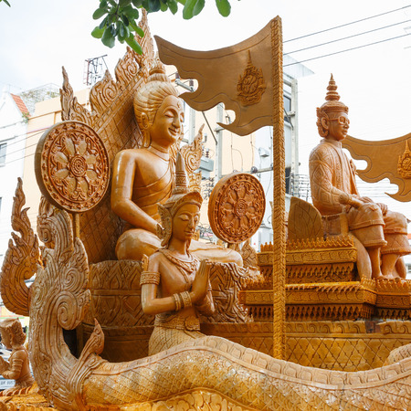 nakhon: The traditional candle procession festival of Buddha on July 11, 2014 in Nakhon Ratchasima, thailand.