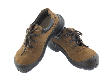 safety shoes: Safety shoes isolated and white background Stock Photo