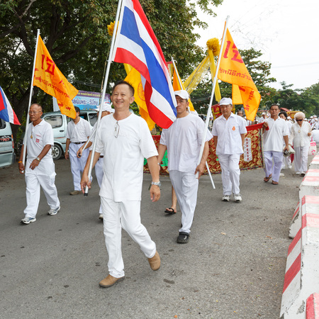 rayong: RAYONG, THAILAND - SEPTEMBER 23: Rayong vegetarian festival on September 23, 2014 in Rayong province, Thailand.