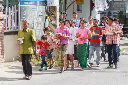 wedding parade: NAKORNRATCHSIMA, THAILAND-NOVEMBER 1, 2014: Unidentified people in Thai  wedding parade, November 1,2014, Nakornratchsima city, Thailand