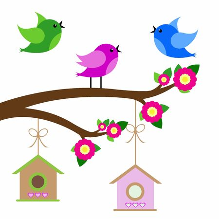 birds colorful and birdhouse on tree branches.