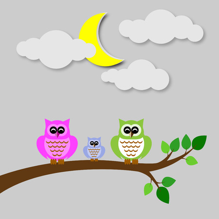 colorfu: owl colorfu set  on tree branch yellow moon and cloud Illustration