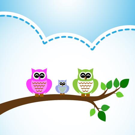 colorfu: owl colorfu set on tree branch blue background