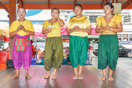 korat: NAKHON RATCHASIMA, THAILAND - MARCH 23:Unidentified thai people show traditional korat music in Thao Suranaree monument on March 23, 2015 in Nakhon Ratchasima or Korat, Thailand.