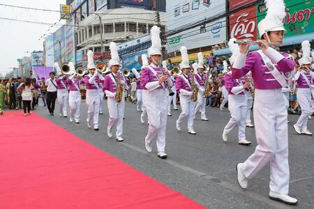 march band: NAKHON RATCHASIMA, THAILAND - MARCH 23:Unidentified marching band in the parade at annual festival Thao Suranaree monument on March 23, 2015 in Nakhon Ratchasima or Korat, Thailand. Editorial