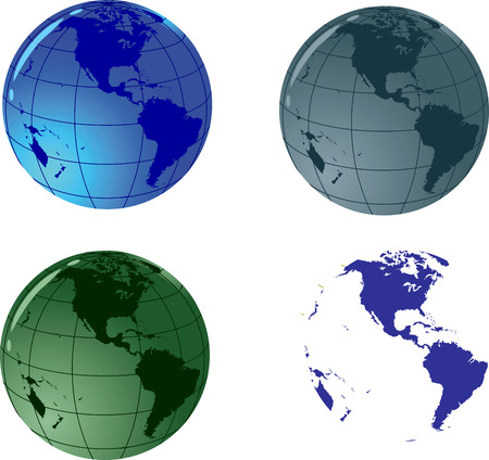 Glass vector globe; Only Vector elements, easy to edit; Vector