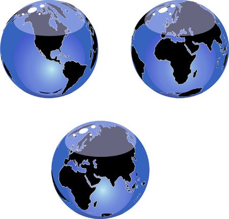 Glass vector globe; Three different views. Vector