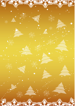 Gold winter background with cristmas trees. Vector illustration - easy to edit. Vector