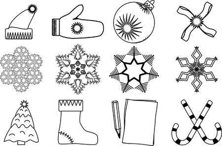 Christmas icon set.12 objects. Vector