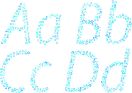 Winter aphabet with snowflakes. Part1.ABCD. Vector