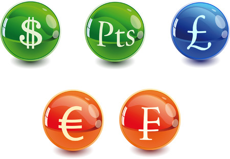 3d Color vector spheres with money signs.