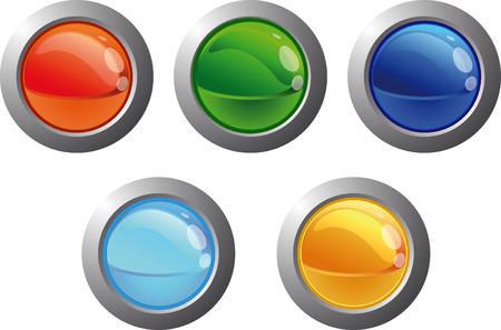 Cinco botones de colores web Vectores