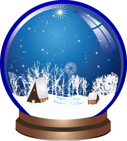 snow globe: Blue christmas ball with snow Illustration