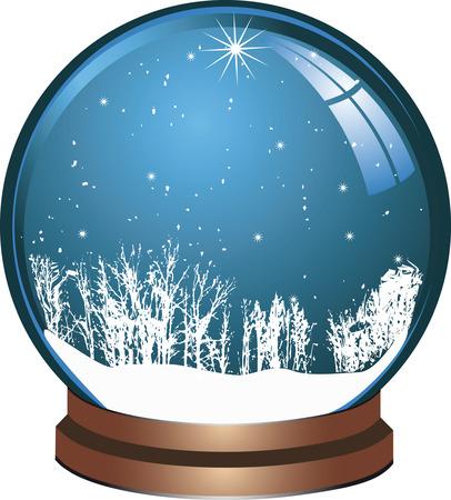 Glass christmas ball with snow Illustration