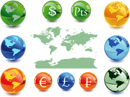 christal: Colour globe kit and money signs from different countries, vector background. Vector illustration - fully editable. Illustration