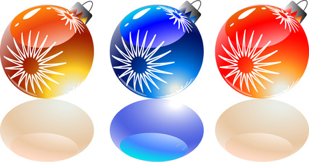Color vector sphere tree toys with color shadows. Vector